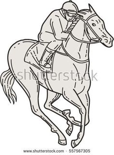 Mono line style illustration of a jockey riding a thoroughbred horse racing set on isolated white background.  #horseracing #monoline #illustration