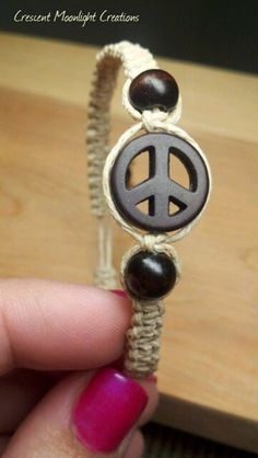 Peace & Love Hemp Bracelet, Adjustable size by CrescentMoonLight on Etsy, $5.95
