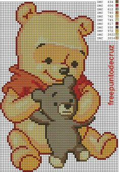 Free cross stitch drawings: Winnie Baby Cross Stitch Cross Stitch - Everything Here - Stitching Projects Cross Stitch Baby, Counted Cross Stitch Patterns, Cross Stitch Charts, Cross Stitch Designs, Cross Stitch Embroidery, Cross Designs, Modele Pixel Art, Stitch Drawing, Canvas Patterns