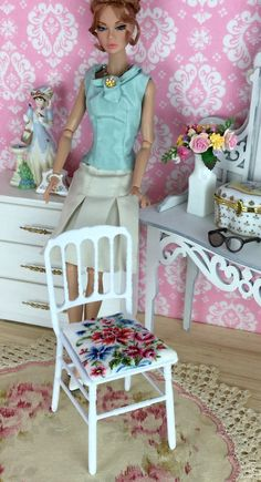 OOAK Barbie chair with petit point seat cushion by HankieChic