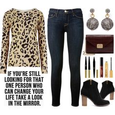 Street Style Chic - Animal Print Sweater by latoyacl on Polyvore featuring M&S Collection, Frame Denim, Mulberry, Dana Kellin, Yves Saint Laurent, tarte, women's clothing, women's fashion, women and female