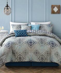 Look at this #zulilyfind! Blue Novara Seven-Piece Reversible Comforter Set #zulilyfinds
