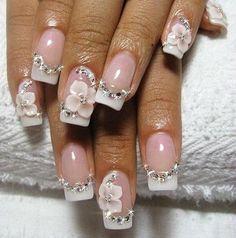 French Flowery Bridal Nail Art shiny amazing chic rhinestones Pinned by www.beautyenbijoux.nl