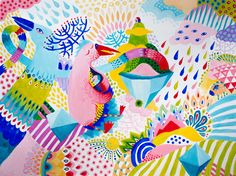 The Pink Bird and Flying Island.  Acrilic, canvas, 80x60 cm #painting #pattern #illustration #colorful