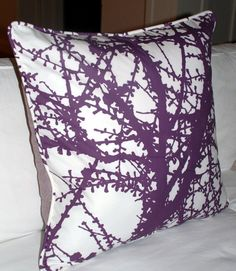 """R+A Designs' hand-screened """"Larch"""" Euro shams, self-welted and backed in lavender herringbone wool tweed.   Modern Coastal Interiors by Amy Cornell"""