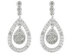 Diamond .25ctw Round, Rhodium Over Sterling Silver Dangle Earrings