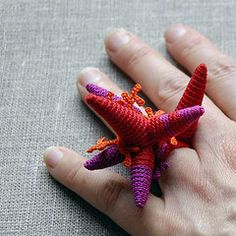 free form crocheted ring