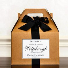 Wedding Welcome Boxes - Hotel Welcome Boxes for Wedding Guests - Gable Boxes, Ribbon & Labels - we a