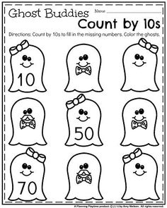 Kindergarten Math Worksheets for October - Ghost Buddies Count by 10