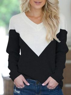 e26611eee8750 Sexy V-neck Characteristic Color Matching Design Long-sleeved Sweater Girls  Fall Fashion,