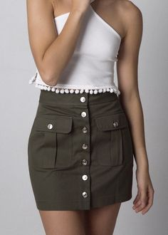 KHAKI SKIRT Waist Skirt, High Waisted Skirt, Khaki Skirt, Denim Mini, Mini Skirts, Fashion, Moda, High Waist Skirt, Fashion Styles