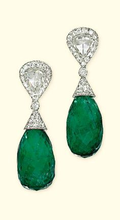 A pair of Emerald and diamond ear pendants. Each composed of an emerald briolette drop with pavé-set diamond cap to the brilliant-cut diamond connection, suspended from a similarly-set diamond surmount mounted with a pear-shaped rose-cut diamond. Emerald Earrings, Emerald Jewelry, Gemstone Jewelry, Antique Jewelry, Vintage Jewelry, Jewelry Accessories, Jewelry Design, Diamond Earing, Fantasy Jewelry