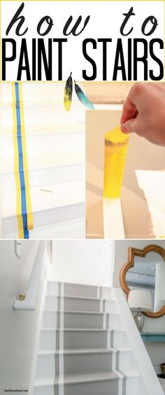 INCREDIBLE stair makeover with PAINT! SO much cheaper than stain or new stairs!! Great painted stairs DIY tutorial. If you can hold a paintbrush, you can easily learn how to paint stairs!! from www.heatherednest.com