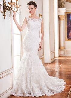 [R$ 1019.43] Trompete/Sereia Decote redondo Cauda longa Tule Renda Vestido de noiva com Bordado Lantejoulas (002051620)