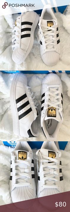 Adidas shoes White adidas, blk stripe, gold accent. Never