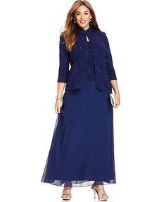Alex Evenings Plus Size Dress and Jacket, Glitter Evening Dress