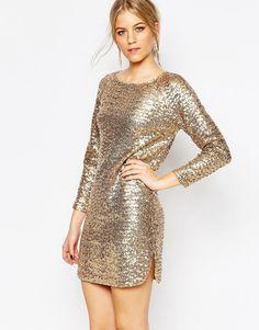Image 1 ofVero Moda Long Sleeve Cut Out Back Sequin Dress