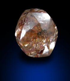 Diamond (0.92 carat fancy-orange dodecahedral crystal) from Letlhakane Mine, south of the Makgadikgadi Salt Plains, Botswana