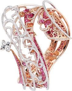 louis vuitton the spirit of travel shangai bracelet in white  red gold, louis vuitton diamonds, diamonds, spinels  spessartits.