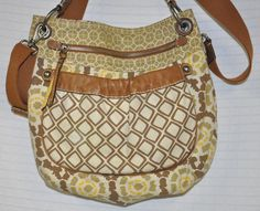 FOSSIL Beige YELLOW Brown LEATHER Trim CROSSBODY Shoulder BAG Purse CANVAS Guc | eBay