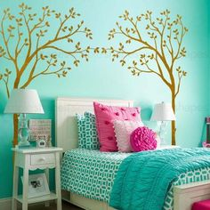 Crib Canopy Tree wall decals will liven up your baby's crib! They say you shouldn't use a crib bumper and toys are definitely not allowed for a baby safe environment. Why not decorate around the crib Deco Turquoise, Bedroom Turquoise, Turquoise Cottage, Teen Room Designs, Girl Bedroom Designs, Teenager Zimmer Design, Nursery Wall Stickers, Teen Girl Bedrooms, Room Colors