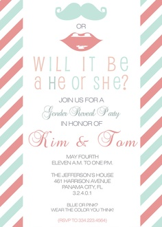 Printable Custom Personalized Gender Reveal Party Invitation, Printable Invitation Design, Pink or Blue, Mustache, Lips. $15.00, via Etsy.
