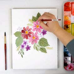 Learn how to paint a simple watercolor daisy or coneflower/cosmos bouquet with this easy to fo. Watercolor Flowers Tutorial, Watercolour Tutorials, Watercolour Step By Step, Simple Watercolor Flowers, Watercolor Projects, Watercolor Paintings For Beginners, Simple Paintings For Beginners, Painting Videos, Watercolor Cards