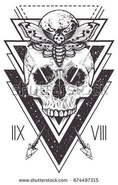 Vector boho design of skull with hawk moth and sacred geometric elements, arrows, hipster triangles, mystical symbols. Tattoo style graphic design. Vector monochrome art isolated on white.