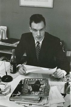 28 year old Hugh Hefner at the Playboy office, 1954