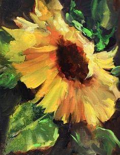 "Daily Paintworks - ""Wild Abandon - Sunflower"" - Original Fine Art for Sale - © Nancy Medina"
