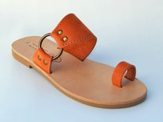 Greek Leather Sandals by babisg on Etsy Shoes Flats Sandals, Cute Sandals, Cute Shoes, Shoe Boots, Me Too Shoes, Flat Sandals, Fashion Slippers, Fashion Sandals, Leather Slippers
