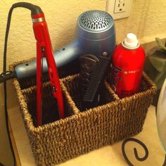 Picnic silverware holder used in the bathroom to hold your hair products. Genius.