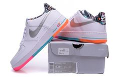 best website b667a 9b8aa Nike Air Force 1 Low White Light Retro Total Orange Silver 596728 100 Womens  Running Shoes