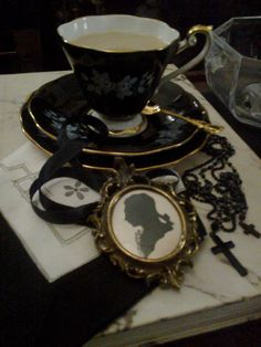 Mourning Tea . Gothic tea cup . I love everything about this setting