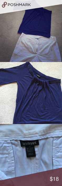 Lane Bryant Shorts &Top Size 18/20 Off Shoulder Sweater with beaded collar, Bermuda shorts , no flaws. Shorts
