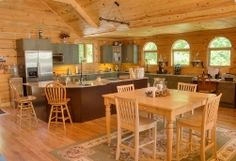 Log home kitchen and dining area