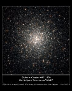 This Hubble telescope image of a dense swarm of stars shows the central region of the globular cluster NGC 2808. All the stars in NGC 2808 were born within 200 million years very early in the life of the 12.5-billion-year-old massive cluster. Of the about 150 known globular clusters in our Milky Way Galaxy, NGC 2808 is one of the most massive, containing more than 1 million stars. The Hubble images were taken in May 2005 and in August and November 2006.