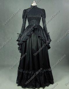 ffb3613893 Victorian Edwardian Black Gown Period Dress Reenactment Theatre Clothing  324 XL