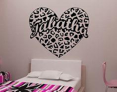 Cheetah Spot Heart With Custom Text Vinyl Wall Decal Sticker Cheetah Print Part 30
