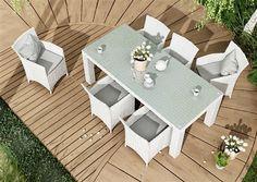 amanda sada kresiel  rapallo stol 200 cm z umeleho ratanu biela