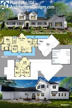 Architectural Designs 4 Bed Modern Farmhouse Plan has an angled garage and a loft on the second floor. The home gives you just over 2,900 square feet of heated living space. Ready when you are. Where do YOU want to build?