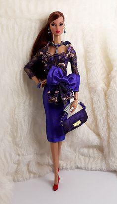 8f6322ecf1de Handmade Purple Rose Fur Outfit Dress & Bag For Barbie Silkstone Model Muse  Doll