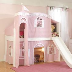 Fantasy Castle Tent Low Loft Bed In Pink And White