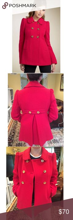 FALL Red pea coat with gold buttons Adorable Juicy Couture double breasted Red Peacoat with gold buttons. Kept in pristine condition and perfect for the fall months ahead! The red color is a statement and will look fabulous layered over any of your fall ensembles. Pictured on someone who is 5 ft. Tall in photos 2-4. Will hit anyone at the average length a pea coat does- price is negotiable  Juicy Couture Jackets & Coats Pea Coats