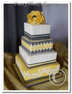 Yellow & Gray Square Cake: Today you are joined in marriage,  remember to always…  Be understanding of your partner's needs.  Hold each other in the highest regard.  Have a sense of humour as you meet life's challenges.  Honour one another when you are together or apart.  Respect each other's differences.  Enjoy the good times, and endure the storms.  Make your dreams come true, together…  Most of all, love one another…