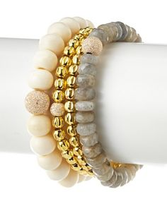 Sisco + Berluti Bone, Golden & Labradorite Bracelet Stack