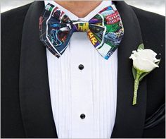 So Nerdy, i don't I'd object to my husband wearing this on our wedding day. Star Wars Comic Book Bow Tie Licensed Fabric