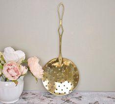 Vintage large brass straining spoon/skimmer