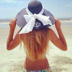Monogrammed Wide Navy Blue Derby Hat