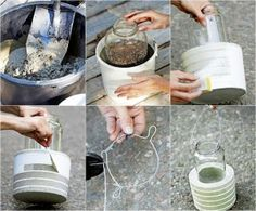 make stripes on concrete bases using tape and paint